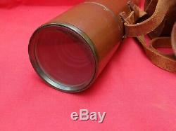 Large Antique Telescope. Broadhurst Clarkson, Leather & Brass, 4 Draw, 3 Lens