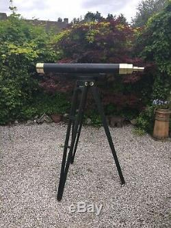 Large Antique Telescope, With Period Wooden Tripod (Browning London) Astronomy