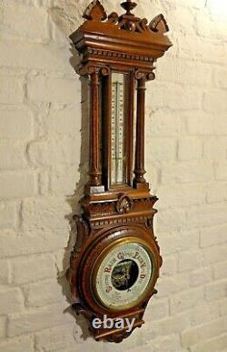 Large Oak Aneroid Wall Barometer Circa 1900