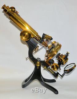 Large binocular microscope in case Crouch, London