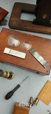 MEDICAL ANTIQUE lot of 3 microscopes very rare scientifiques Nachet Newton tsf