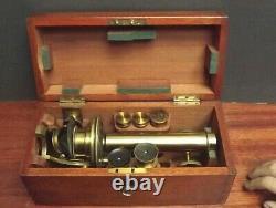 Microscope Campaign Brass R. & J. Beck C1860 Folding Chest Microscope