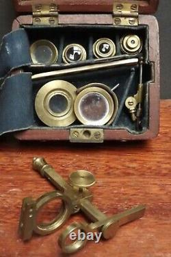 Microscope Early Gould Type C1820 Original Parts Brass Mahogany Case