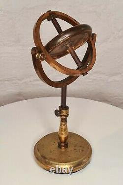 Mid Victorian Brass Gyroscope on stand / Science Demonstration Instrument