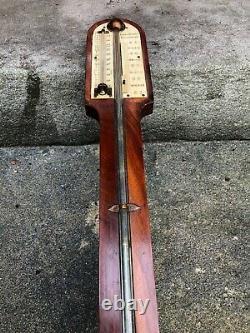 Old Victorian 19th Century Antique Mahogany Stick Barometer Hall & Wilson Oak