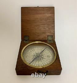 Original Antique Victorian Pocket Dry Card Compass in Wooden Case
