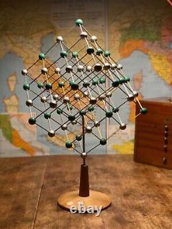 Original Vintage Molecular Model Of Sodium Chloride Salt On A Stand