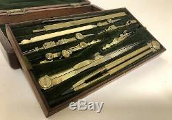 Quality Antique 1841 Technical Mathematical Drawing Instruments Geometry Set