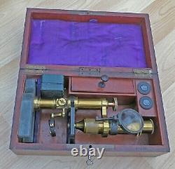 RARE ANTIQUE Brass Microscope HART & PRAZ Paris MAHOGANY BOX + KEY