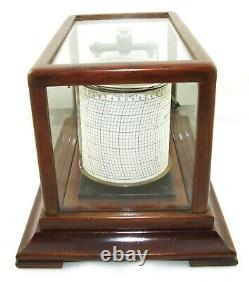 RARE Antique Oak Cased MICRO Barograph Bevelled Glass & Ink Bottle WORKING