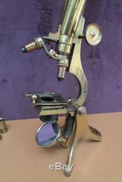 RARE Henry Crouch Antique Brass Wenham Binocular Microscope. Circa 1875