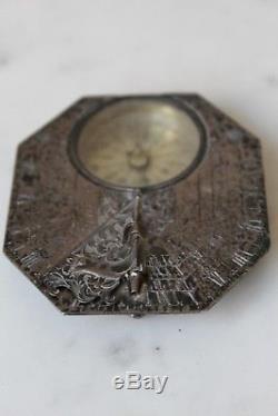 RARE SOLID SILVER MICHAEL BUTTERIFELD SUNDIAL & COMPASS c. 1690