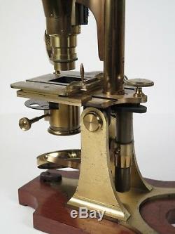 R & J Beck binocular microscope, twin tower, 3 Objective lenses, condenser 1873