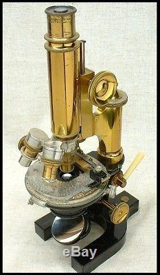 Rare 1899 BAUSCH & LOMB CD Continental microscope in cased outfit