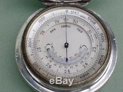 Rare Antique 1911 Asprey Silver Case Pocket Barometer / Altimeter. Working Order