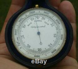 Rare Antique Double Sided Pocket Barometer Compass Negretti & Zambra