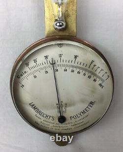 Rare Antique Lambrecht's Polymeter, hair hygrometer, German