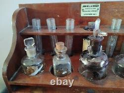 Rare Antique Mahogany Apothecary Cabinet With Drawer, Bottles & Instruments