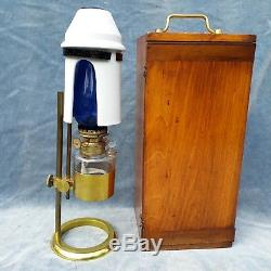 Rare Brass Antique Adjustable Microscope Oil Lamp Complete With Box Franks