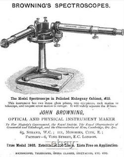 Rare Scientific Instrument Antique Victorian Brass Spectroscope / Spectrometer