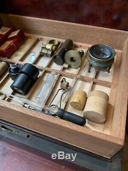 Rare Unusual Antique Victorian Microscope Slide Cabinet Decanter box + contents