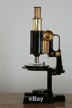 Reduced Antique Brass Carl Zeiss Jena Compound Microscope, Black Lacquered