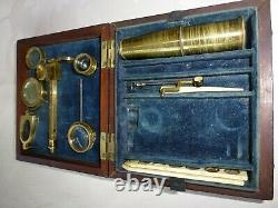 SIGNED CARY-GOULD TYPE COMPOUND & SIMPLE MICROSCOPE c1830