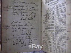 SIR PAUL NEILE 1622 KJV Family Bible Signed Birth Records BRITISH ROYAL SOCIETY