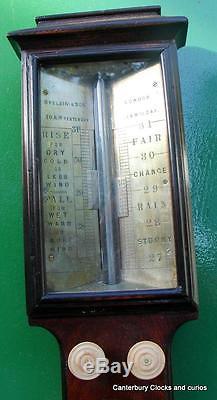 SPELZINI & SON LONDON 1830c ANTIQUE FLAME MAHOGANY STICK BAROMETER