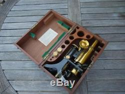 SUPERB ANTIQUE 1910c SWIFT & SON BRASS MICROSCOPE IN FITTED MAHOGANY CASE
