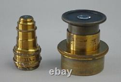 Seibert & Krafft Antique Brass Parallel Linkage C-pillar Microscope Circa 1875