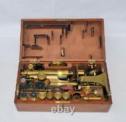 Smith and Beck binocular microscope in case