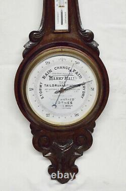 Stunning Antique Harry Hall Advertising Hand Carved Oak Banjo Aneroid Barometer