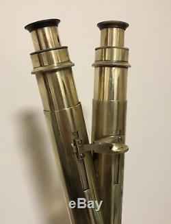 Superb Antique Brass Binocular Polarising Microscope