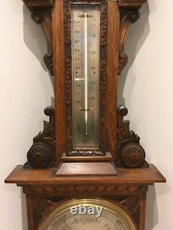 Superb Antique Carved Satin Oak Aneroid Banjo Barometer