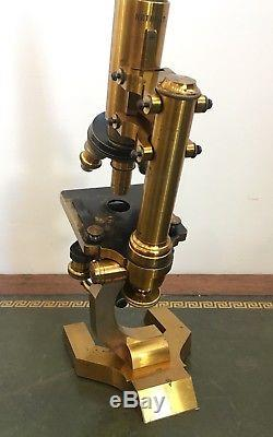 Superb Antique Seibert Brass Microscope with All Lenses in Original Box c. 1880