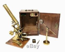 Superb Antique Victorian Brass Bar Limb Microscope Lenses Tweezers Bullseye Box