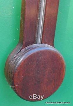 Superb English Vintage Mahogany Stick Barometer