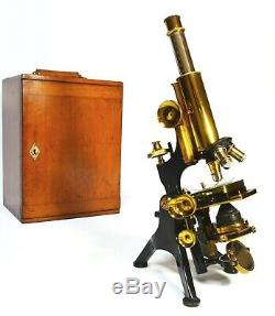 Superb antique lacquered brass'Edinburgh' microscope by Watson of London