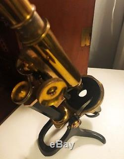 Swift & Son London Antique Microscope in fitted mahogany case 19th Century