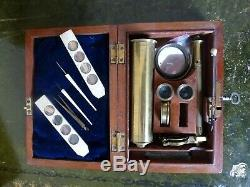 UNSIGNED CARY-GOULD TYPE FIELD MICROSCOPE 19th CENTURY