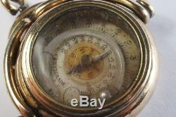 UNUSUAL ANTIQUE ENGLISH GOLD MINIATURE COMPASS & THERMOMETER SPINNER FOB c1890
