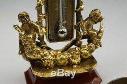 Unusual Antique Gilt Miniature Thermometer & Agate Seal Cherubs Fob / Pendant