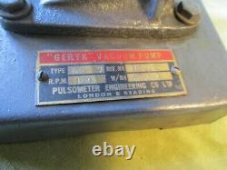 VINTAGE GERYK VACUUM PUMP, 1940's PHYSICS by PULSOMETER ENG LONDON, WORKING