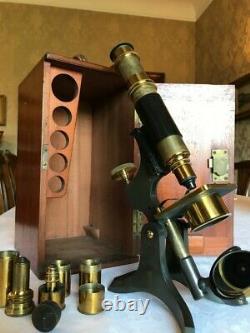 Very Early Antique W. Watson & Sons Ltd Brass Histology Microscope c1891, Cased
