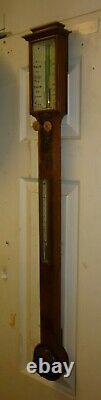 Very Nice 19th Century Walnut Stick Barometer Good Working Order NO POSTAGE