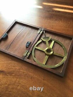 Very Rare William IV brass Protractor In Mahogany Case By BATE London