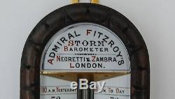 Victorian Carved Oak Admiral Fitzroys Storm Barometer By Negretti & Zambra