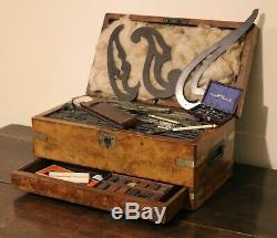 Victorian Welsh Burr-walnut Architect's Instrument Box, Herbert of Ammanford