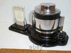 Vintage 1930s Art Deco Desk Barometer / Calendar set. Black / Chrome Desk set